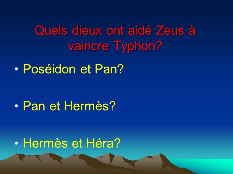 Quels dieux ont aidé Zeus à vaincre Typhon? Poséidon et Pan? Pan et Hermès? Hermès et Héra?