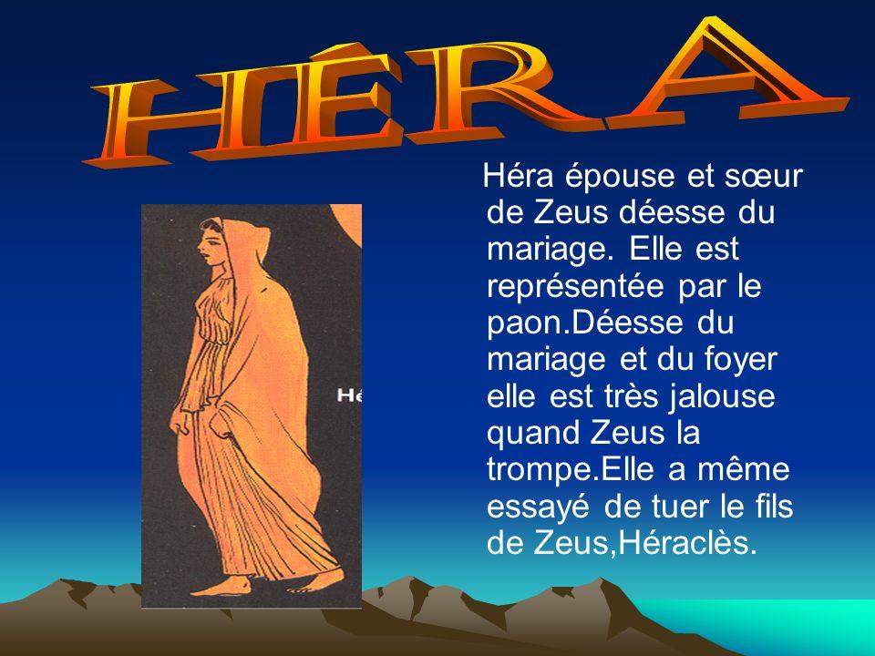 Héra épouse et sœur de Zeus déesse du mariage. Elle est représentée par le paon.Déesse du mariage et du foyer elle est très jalouse quand Zeus la trom