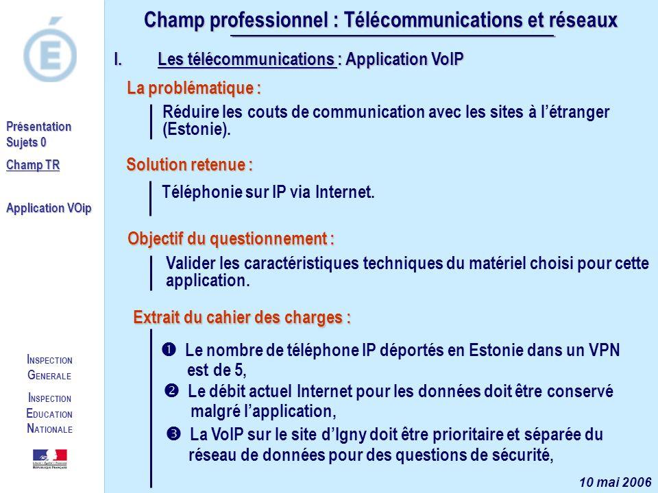 I NSPECTION G ENERALE I NSPECTION E DUCATION N ATIONALE Présentation Sujets 0 Champ TR Application VOip Champ professionnel : Télécommunications et ré