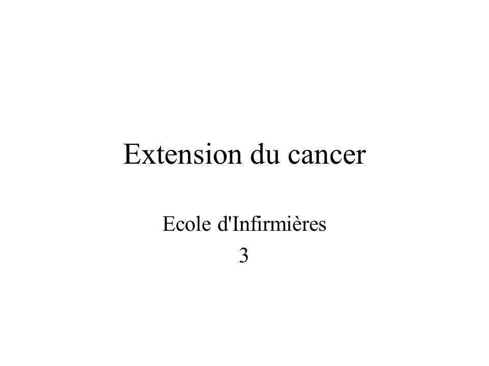 Extension du cancer Mobilité, Detachement Secretion denzymes, destruction du tissu conjonctif Migration jusquau vaisseau, passage vasculaire
