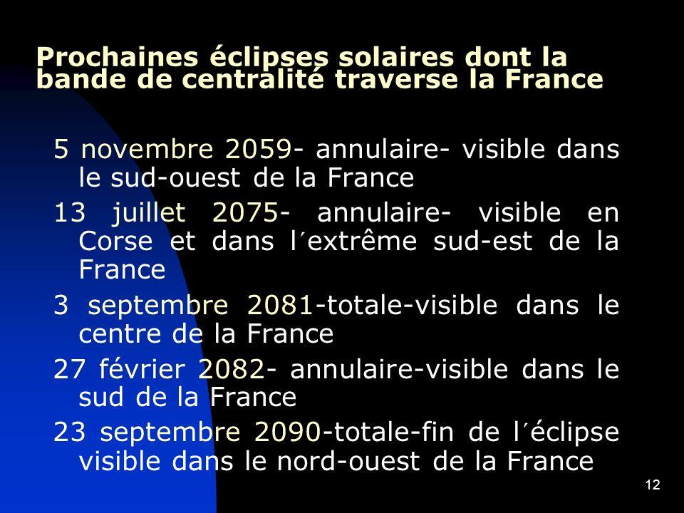 12 Prochaines éclipses solaires dont la bande de centralité traverse la France 5 novembre 2059- annulaire- visible dans le sud-ouest de la France 13 j