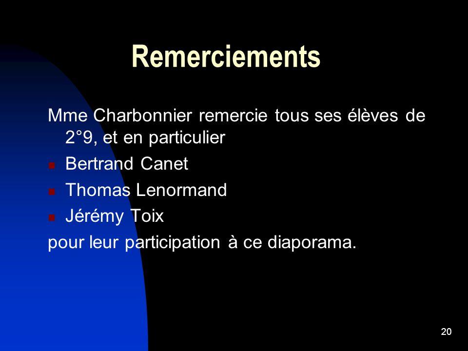 20 Remerciements Mme Charbonnier remercie tous ses élèves de 2°9, et en particulier Bertrand Canet Thomas Lenormand Jérémy Toix pour leur participatio
