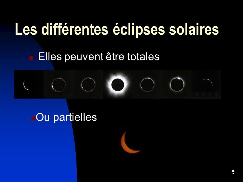 5 Les différentes éclipses solaires Elles peuvent être totales Ou partielles