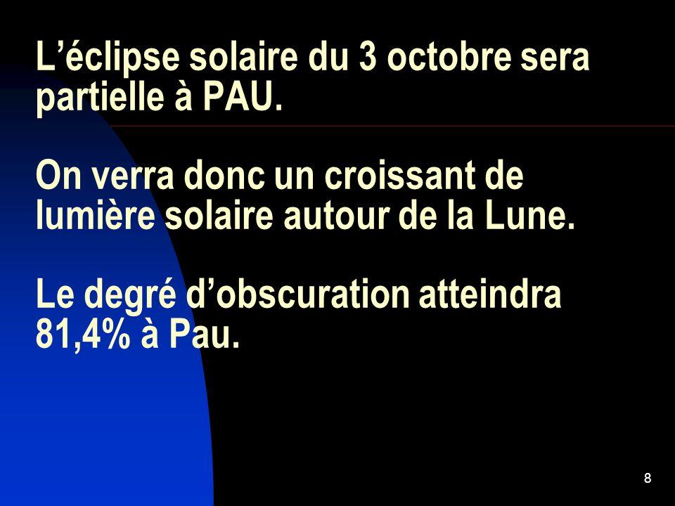 8 Léclipse solaire du 3 octobre sera partielle à PAU. On verra donc un croissant de lumière solaire autour de la Lune. Le degré dobscuration atteindra