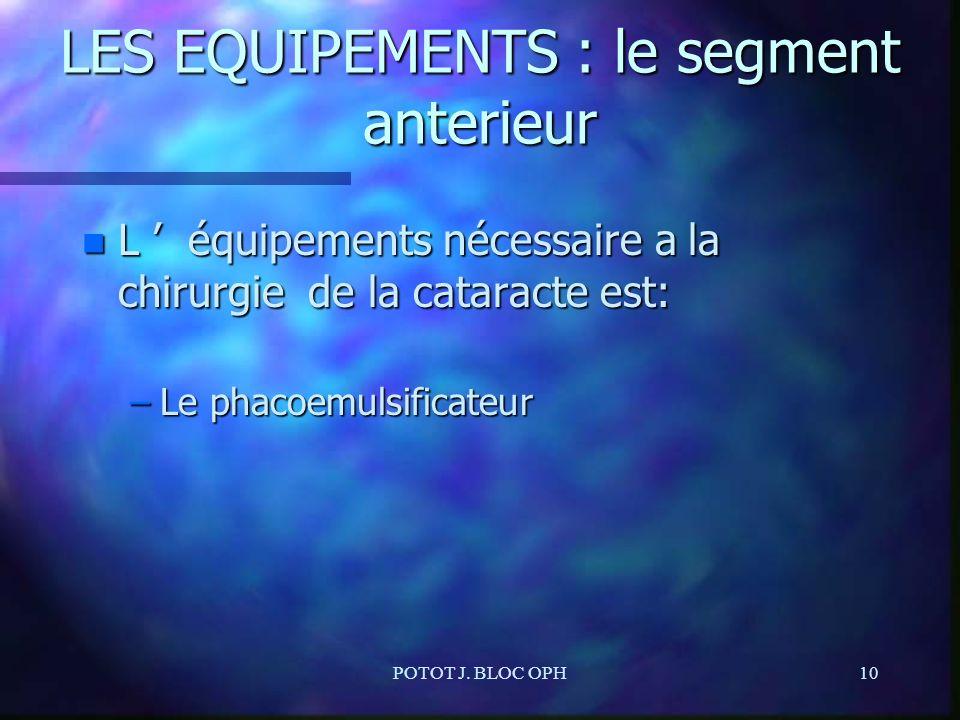 POTOT J. BLOC OPH10 LES EQUIPEMENTS : le segment anterieur n L équipements nécessaire a la chirurgie de la cataracte est: –Le phacoemulsificateur