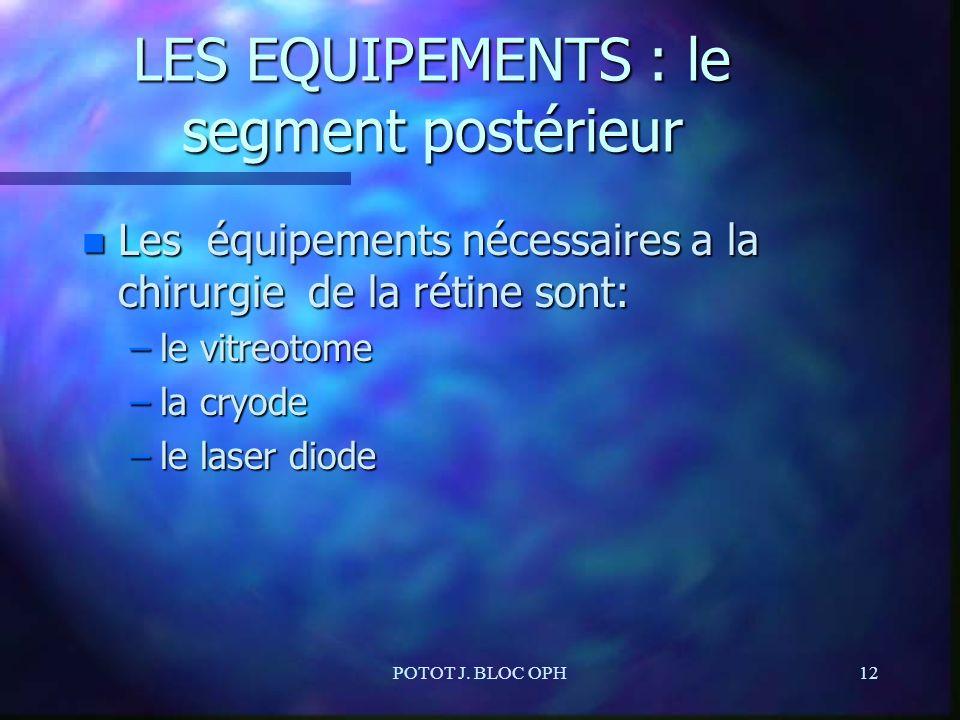 POTOT J. BLOC OPH12 LES EQUIPEMENTS : le segment postérieur n Les équipements nécessaires a la chirurgie de la rétine sont: –le vitreotome –la cryode