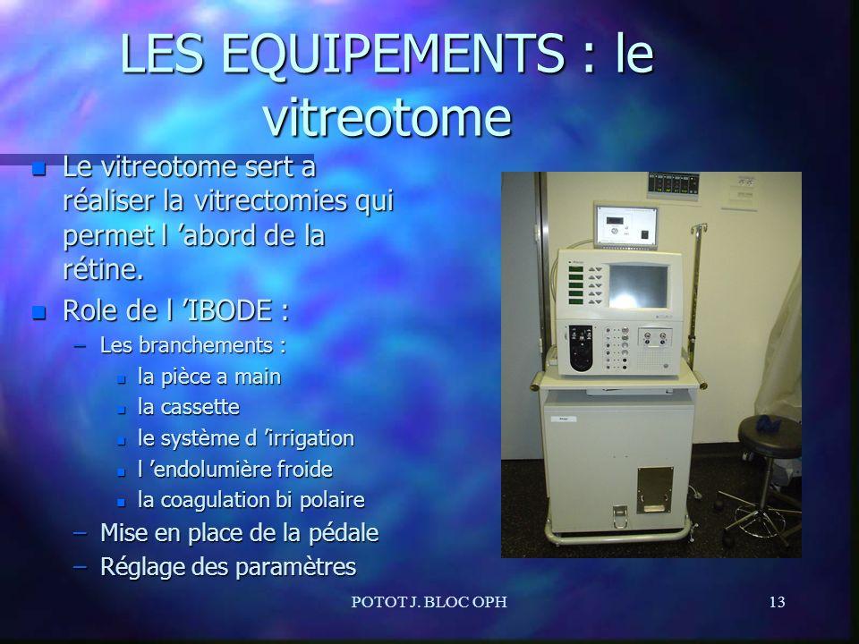 POTOT J. BLOC OPH13 LES EQUIPEMENTS : le vitreotome n Le vitreotome sert a réaliser la vitrectomies qui permet l abord de la rétine. n Role de l IBODE
