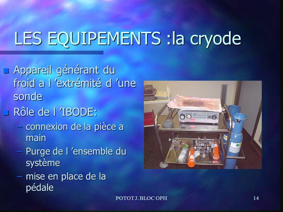 POTOT J. BLOC OPH14 LES EQUIPEMENTS :la cryode n Appareil générant du froid a l extrémité d une sonde n Rôle de l IBODE: –connexion de la pièce a main