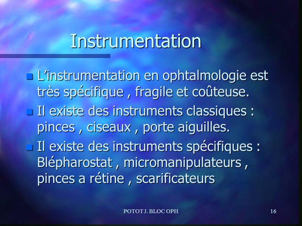 POTOT J. BLOC OPH16 Instrumentation n Linstrumentation en ophtalmologie est très spécifique, fragile et coûteuse. n Il existe des instruments classiqu