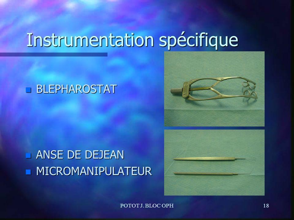 POTOT J. BLOC OPH18 Instrumentation spécifique n BLEPHAROSTAT n ANSE DE DEJEAN n MICROMANIPULATEUR