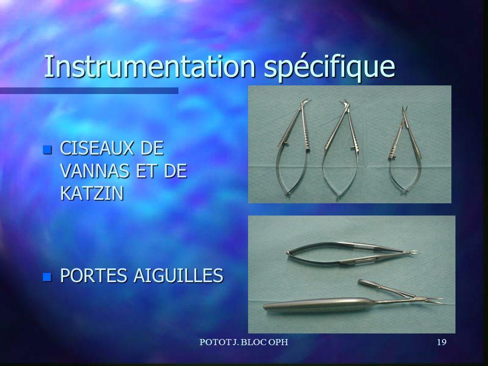 POTOT J. BLOC OPH19 Instrumentation spécifique n CISEAUX DE VANNAS ET DE KATZIN n PORTES AIGUILLES