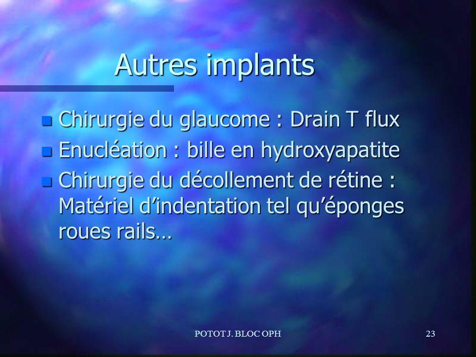 POTOT J. BLOC OPH23 Autres implants n Chirurgie du glaucome : Drain T flux n Enucléation : bille en hydroxyapatite n Chirurgie du décollement de rétin