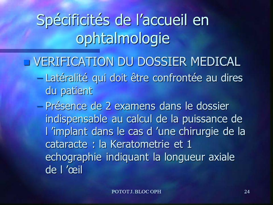 POTOT J. BLOC OPH24 Spécificités de laccueil en ophtalmologie n VERIFICATION DU DOSSIER MEDICAL –Latéralité qui doit être confrontée au dires du patie