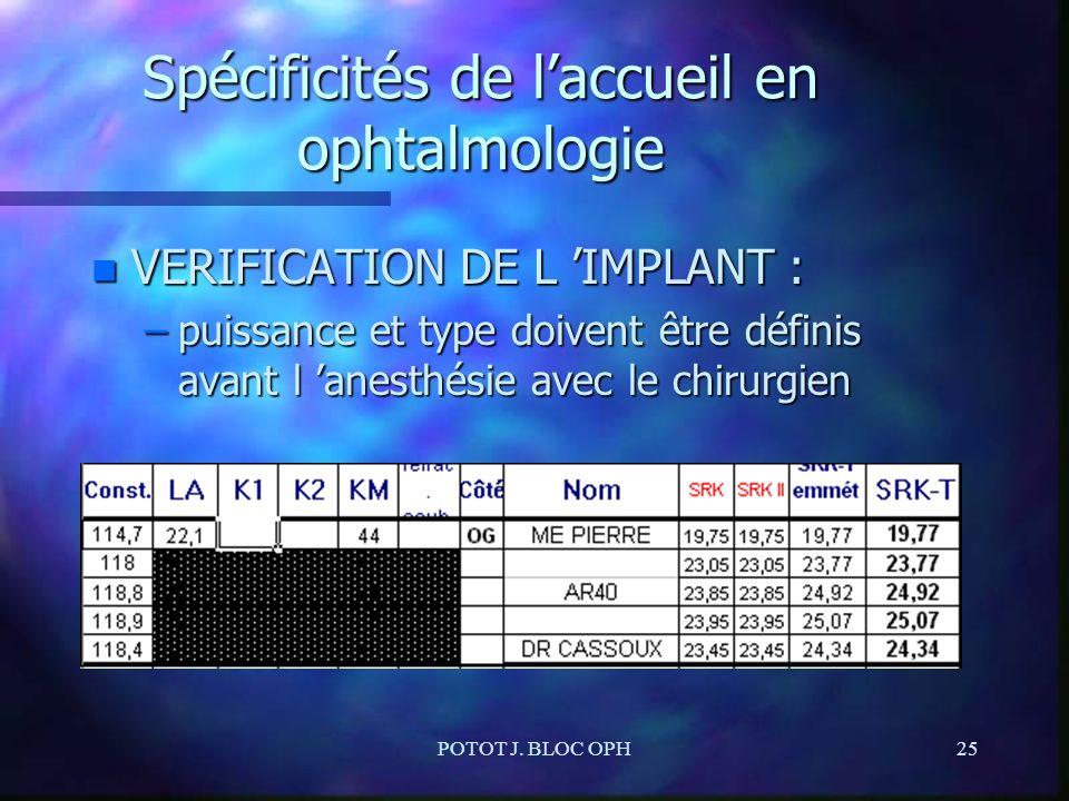 POTOT J. BLOC OPH25 Spécificités de laccueil en ophtalmologie n VERIFICATION DE L IMPLANT : –puissance et type doivent être définis avant l anesthésie