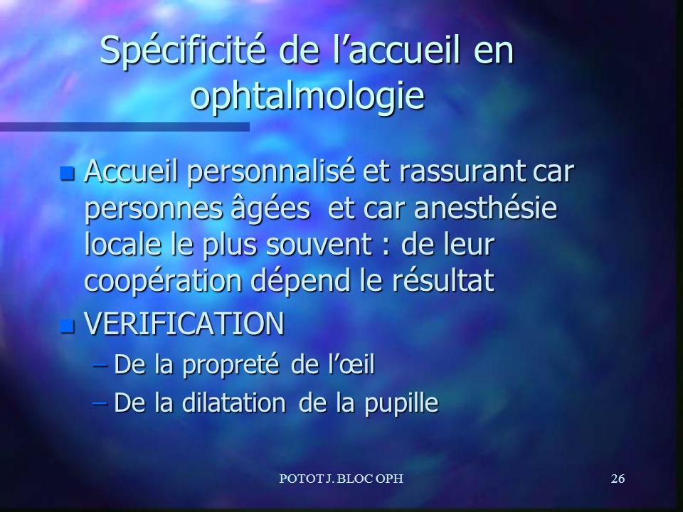 POTOT J. BLOC OPH26 Spécificité de laccueil en ophtalmologie n Accueil personnalisé et rassurant car personnes âgées et car anesthésie locale le plus