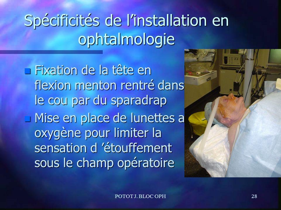 POTOT J. BLOC OPH28 Spécificités de linstallation en ophtalmologie n Fixation de la tête en flexion menton rentré dans le cou par du sparadrap n Mise