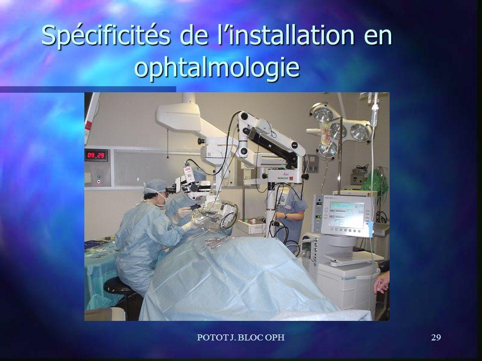 POTOT J. BLOC OPH29 Spécificités de linstallation en ophtalmologie