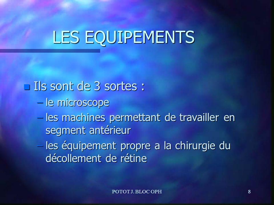 POTOT J. BLOC OPH8 LES EQUIPEMENTS n Ils sont de 3 sortes : –le microscope –les machines permettant de travailler en segment antérieur –les équipement