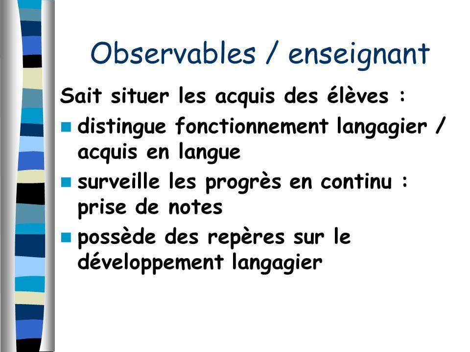 Sait situer les acquis des élèves : distingue fonctionnement langagier / acquis en langue surveille les progrès en continu : prise de notes possède de
