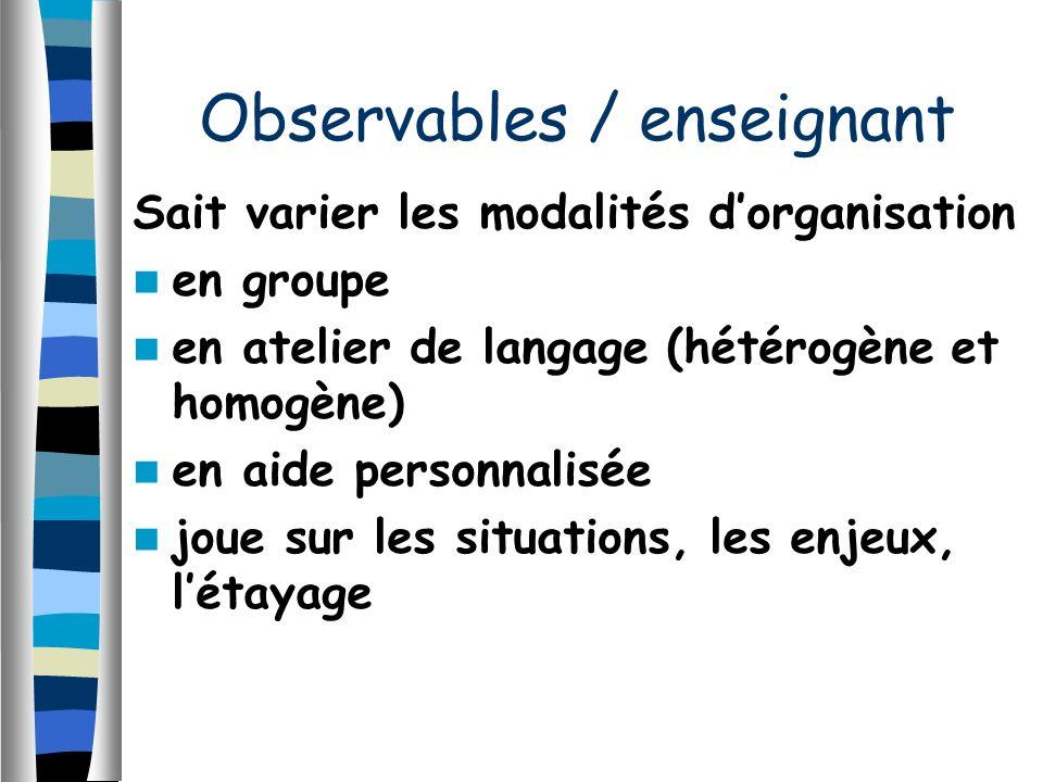 Sait varier les modalités dorganisation en groupe en atelier de langage (hétérogène et homogène) en aide personnalisée joue sur les situations, les enjeux, létayage Observables / enseignant