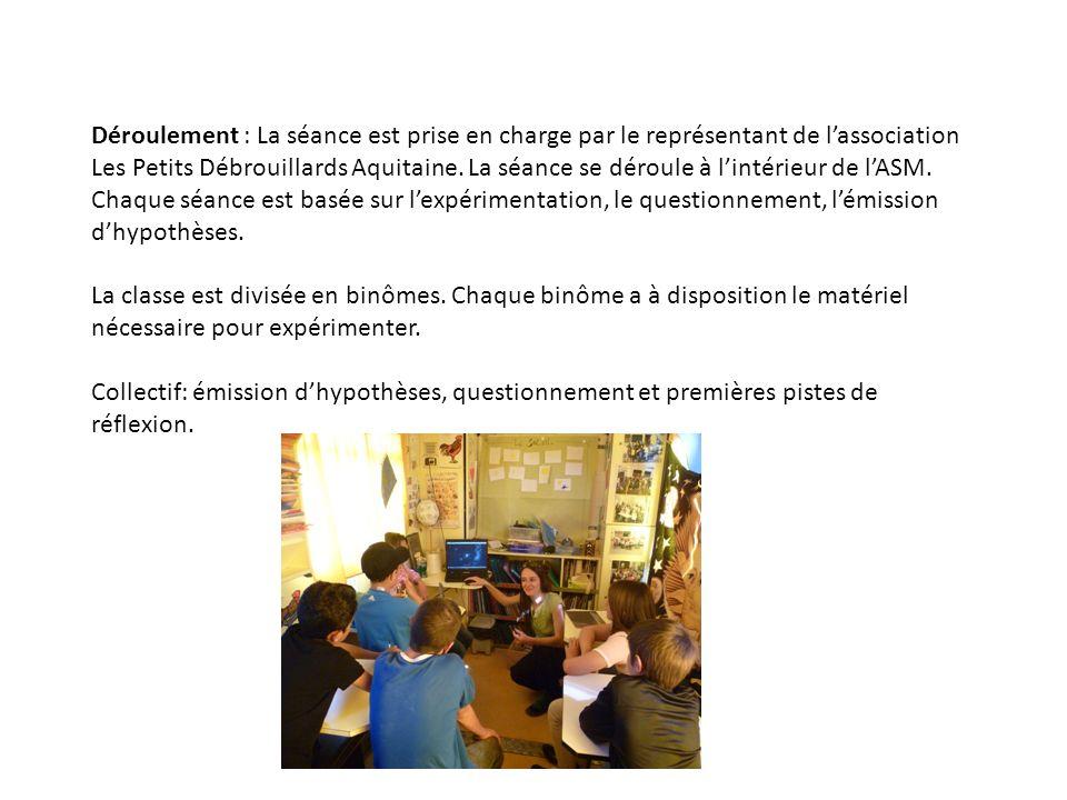 Déroulement : La séance est prise en charge par le représentant de lassociation Les Petits Débrouillards Aquitaine. La séance se déroule à lintérieur