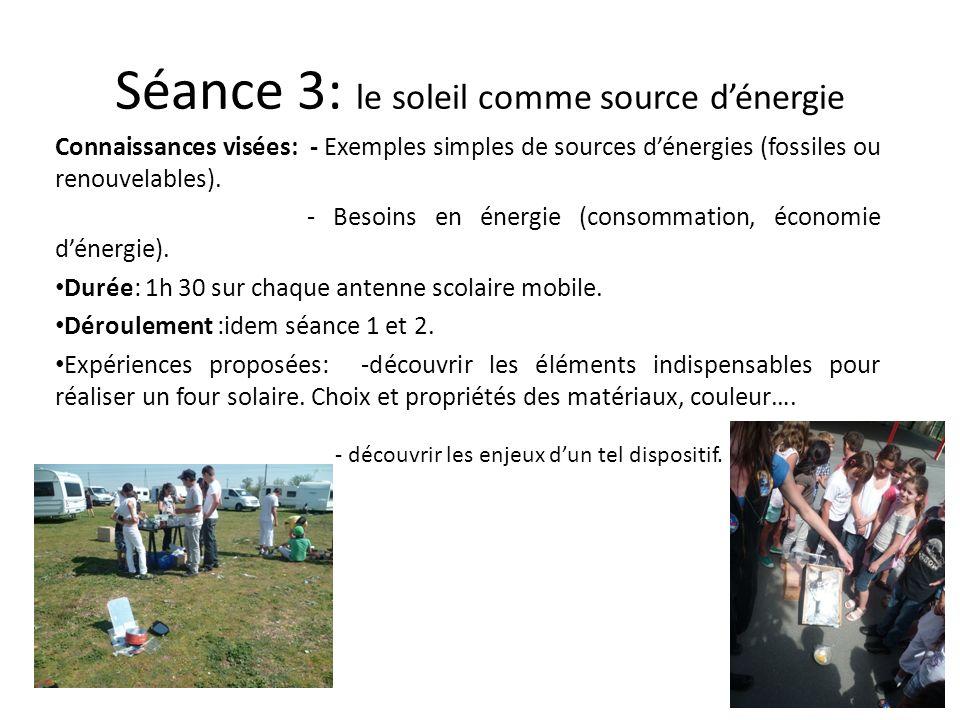 Séance 3: le soleil comme source dénergie Connaissances visées: - Exemples simples de sources dénergies (fossiles ou renouvelables). - Besoins en éner