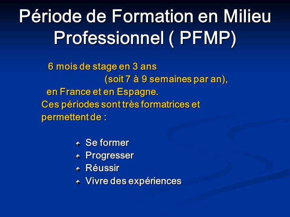 Période de Formation en Milieu Professionnel ( PFMP) 6 mois de stage en 3 ans 6 mois de stage en 3 ans (soit 7 à 9 semaines par an), en France et en E