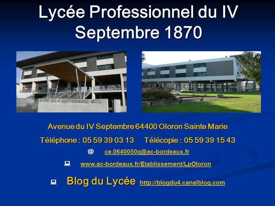 Avenue du IV Septembre 64400 Oloron Sainte Marie Téléphone : 05 59 39 03 13 Télécopie : 05 59 39 15 43 @ ce.0640050q@ac-bordeaux.frce.0640050q@ac-bord