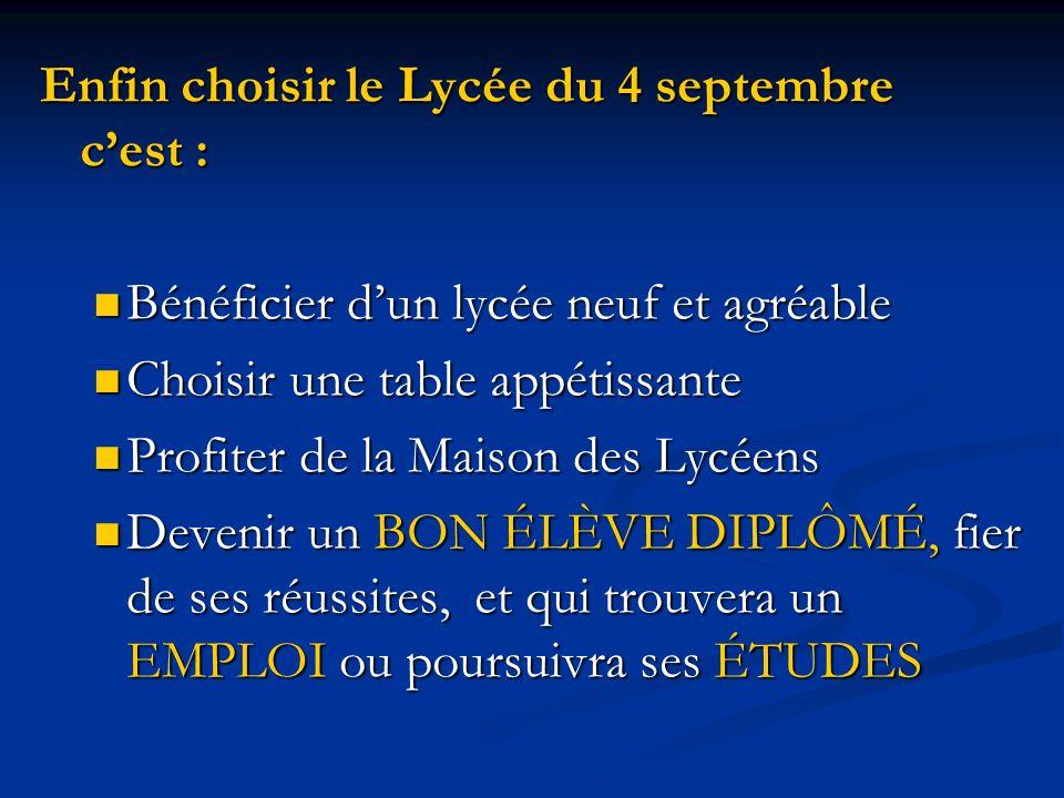 Enfin choisir le Lycée du 4 septembre cest : Bénéficier dun lycée neuf et agréable Bénéficier dun lycée neuf et agréable Choisir une table appétissant