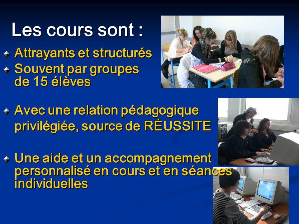 Attrayants et structurés Souvent par groupes de 15 élèves Avec une relation pédagogique privilégiée, source de RĖUSSITE Une aide et un accompagnement