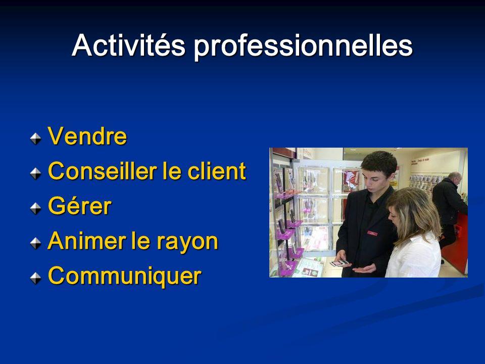 Activités professionnelles Vendre Conseiller le client Gérer Animer le rayon Communiquer