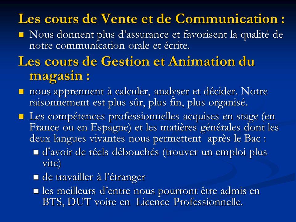 Les cours de Vente et de Communication : Nous donnent plus dassurance et favorisent la qualité de notre communication orale et écrite. Nous donnent pl