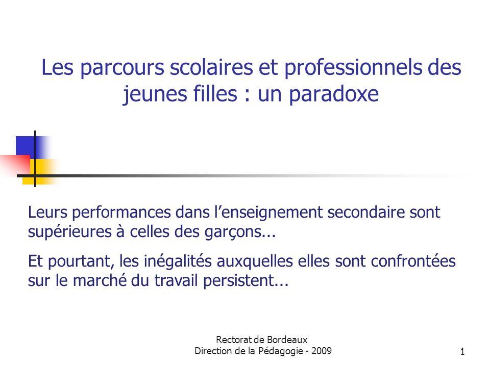 Rectorat de Bordeaux Direction de la Pédagogie - 20091 Les parcours scolaires et professionnels des jeunes filles : un paradoxe Leurs performances dan