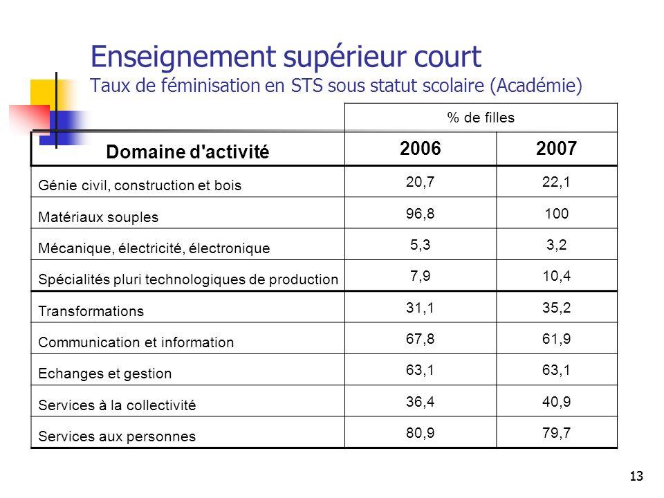 13 Enseignement supérieur court Taux de féminisation en STS sous statut scolaire (Académie) % de filles Domaine d'activité 20062007 Génie civil, const