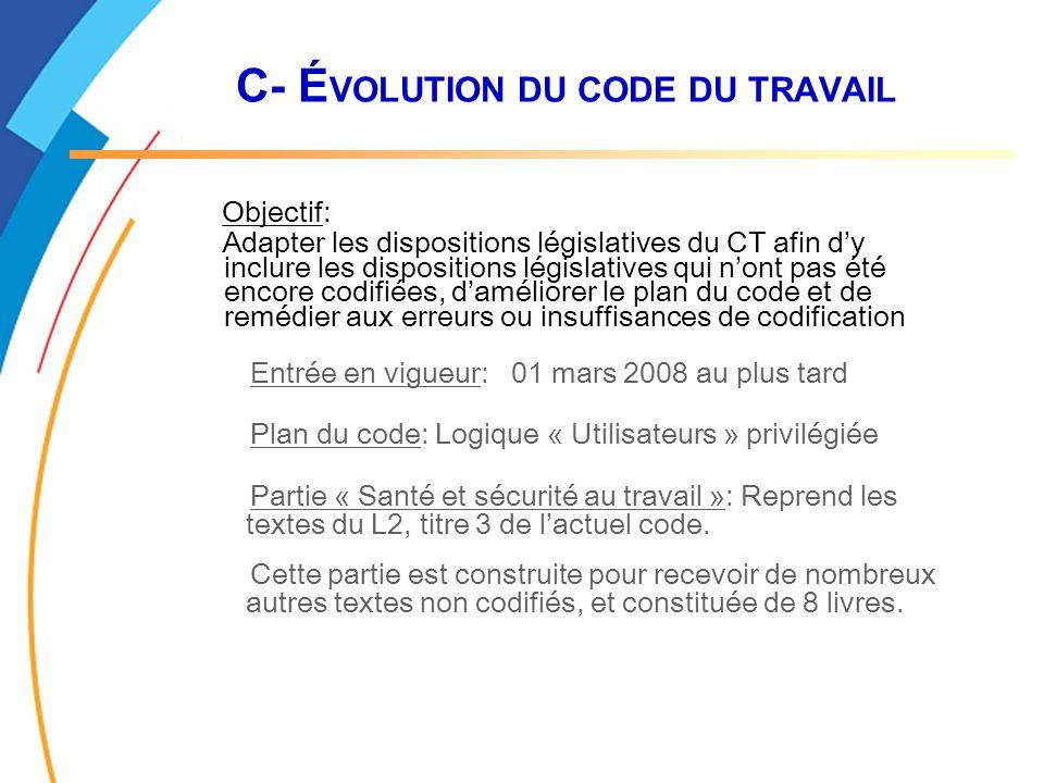 C- É VOLUTION DU CODE DU TRAVAIL Objectif: Adapter les dispositions législatives du CT afin dy inclure les dispositions législatives qui nont pas été