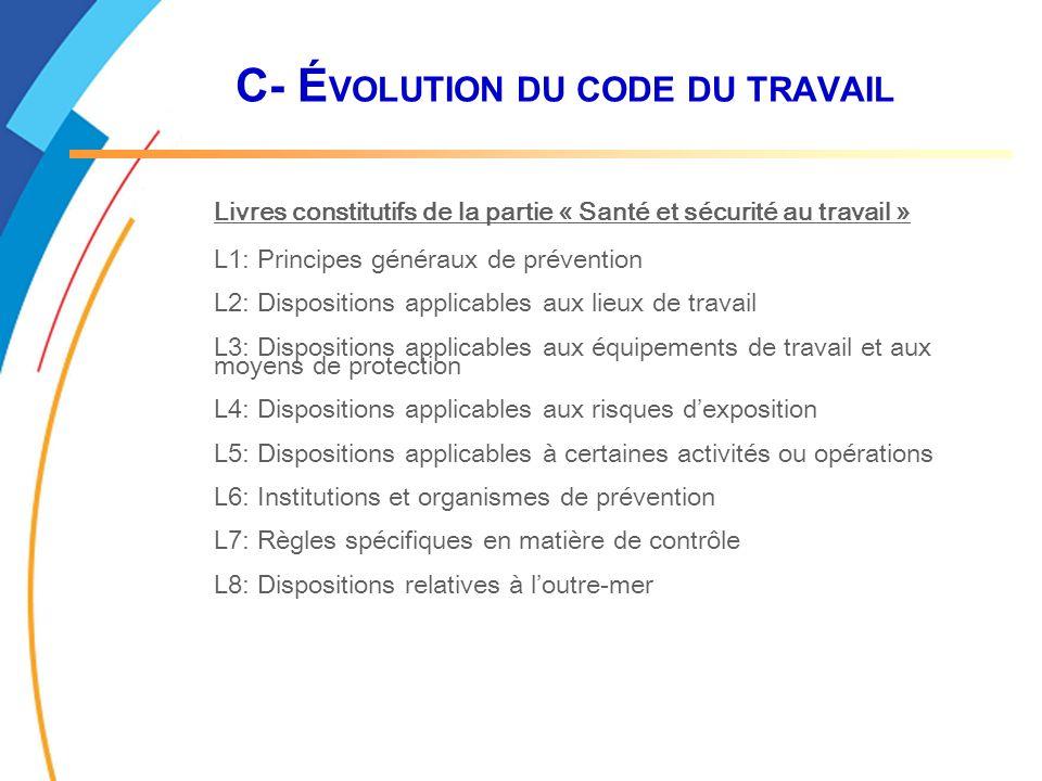 C- É VOLUTION DU CODE DU TRAVAIL Livres constitutifs de la partie « Santé et sécurité au travail » L1: Principes généraux de prévention L2: Dispositio