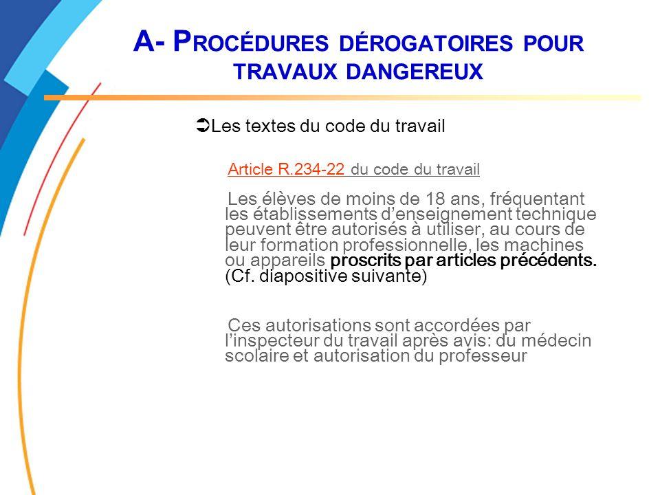 A- P ROCÉDURES DÉROGATOIRES POUR TRAVAUX DANGEREUX Les textes du code du travail Article R.234-22 du code du travail Les élèves de moins de 18 ans, fr