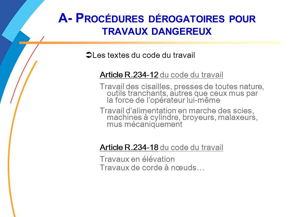A- P ROCÉDURES DÉROGATOIRES POUR TRAVAUX DANGEREUX Les textes du code du travail Article R.234-12 du code du travail Travail des cisailles, presses de