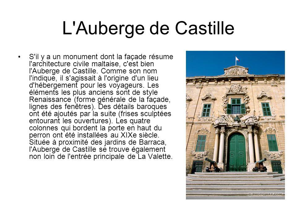 L'Auberge de Castille S'il y a un monument dont la façade résume l'architecture civile maltaise, c'est bien l'Auberge de Castille. Comme son nom l'ind