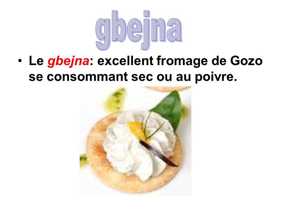 Le gbejna: excellent fromage de Gozo se consommant sec ou au poivre.