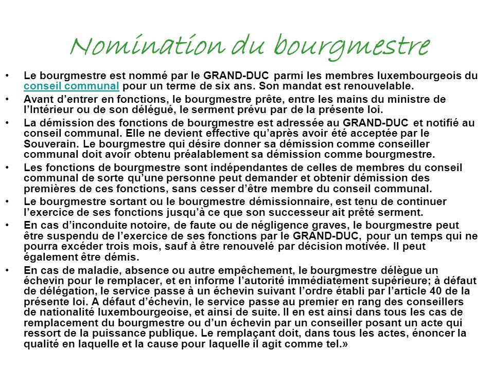 Nomination du bourgmestre Le bourgmestre est nommé par le GRAND-DUC parmi les membres luxembourgeois du conseil communal pour un terme de six ans. Son