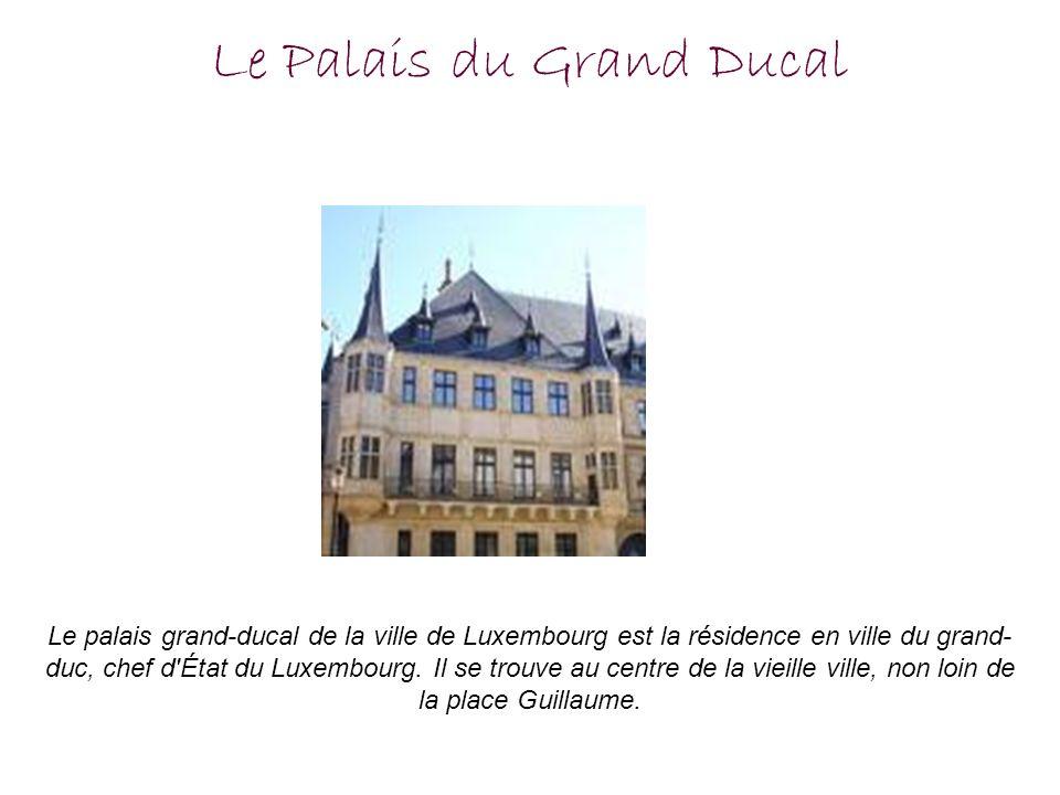 Le Palais du Grand Ducal Le palais grand-ducal de la ville de Luxembourg est la résidence en ville du grand- duc, chef d'État du Luxembourg. Il se tro