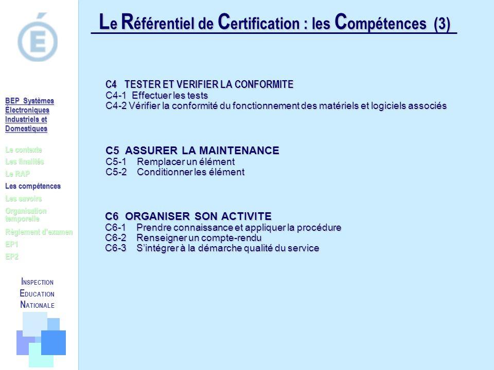 L e R éférentiel de C ertification : les C ompétences (3) Le contexte Les finalités Le RAP Les compétences Les savoirs Règlement dexamen EP1 EP2 Organ