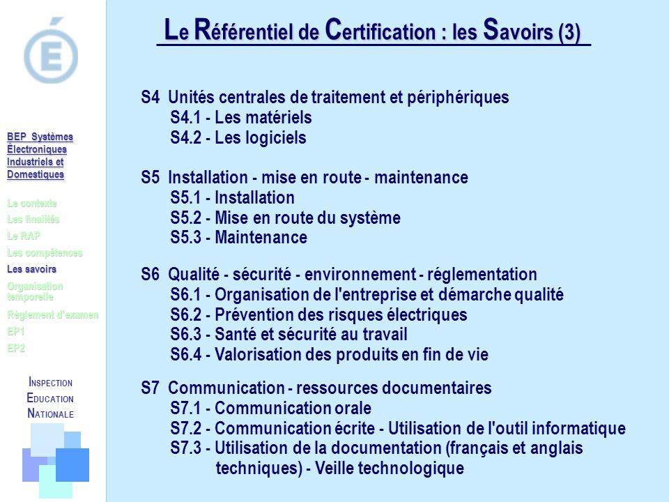 L e R éférentiel de C ertification : les S avoirs (3) Le contexte Les finalités Le RAP Les compétences Les savoirs Règlement dexamen EP1 EP2 Organisat