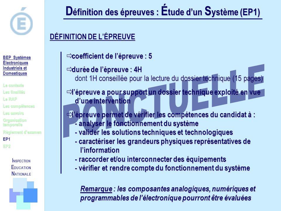 D éfinition des épreuves : É tude dun S ystème (EP1) coefficient de lépreuve : 5 coefficient de lépreuve : 5 durée de lépreuve : 4H 1H conseillée pour