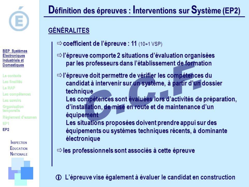 D éfinition des épreuves : I nterventions sur S ystème (EP2) coefficient de lépreuve : 11 (10+1 VSP) coefficient de lépreuve : 11 (10+1 VSP) lépreuve
