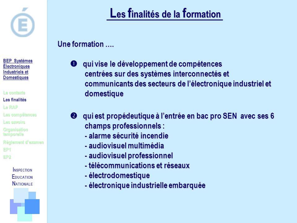 L es f inalités de la f ormation qui vise le développement de compétences centrées sur des systèmes interconnectés et communicants des secteurs de lél