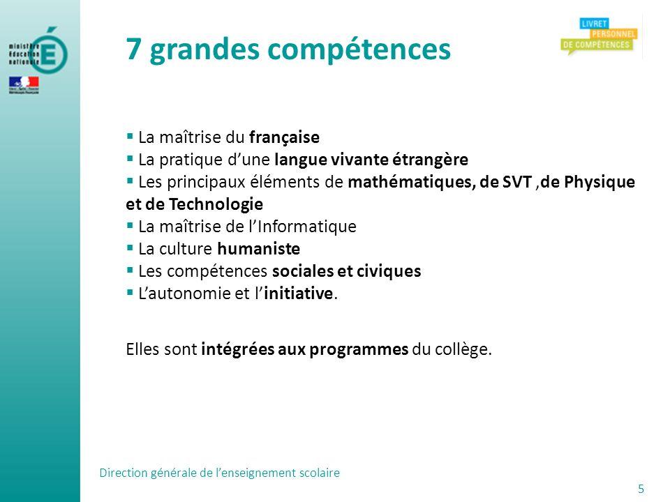 Direction générale de lenseignement scolaire 5 La maîtrise du française La pratique dune langue vivante étrangère Les principaux éléments de mathémati