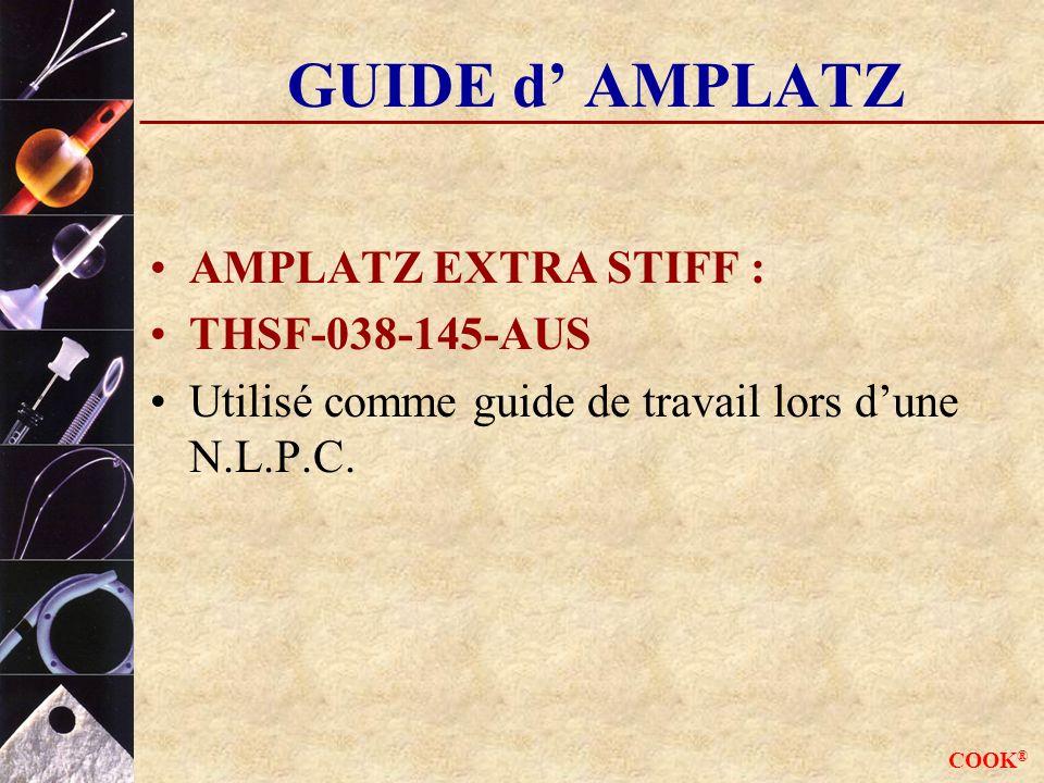 COOK ® GUIDE d AMPLATZ AMPLATZ EXTRA STIFF : THSF-038-145-AUS Utilisé comme guide de travail lors dune N.L.P.C.