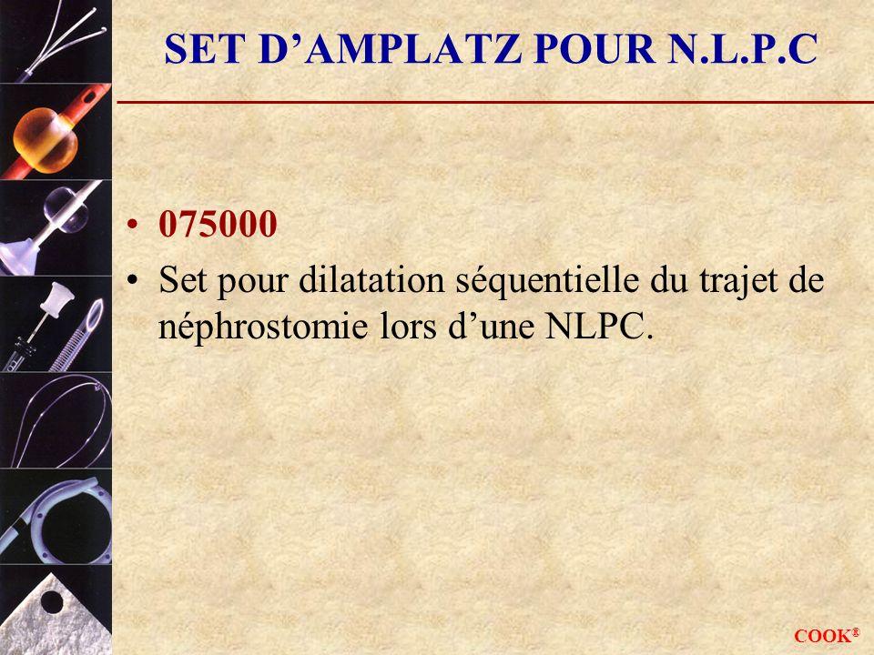 COOK ® SET DAMPLATZ POUR N.L.P.C 075000 Set pour dilatation séquentielle du trajet de néphrostomie lors dune NLPC.